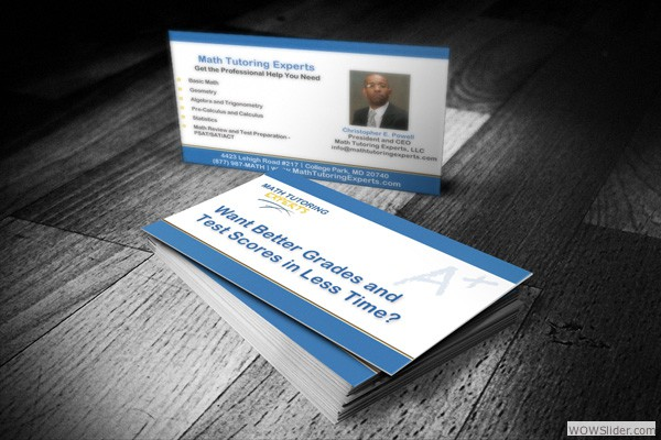Business Card for Math Tutoring Experts